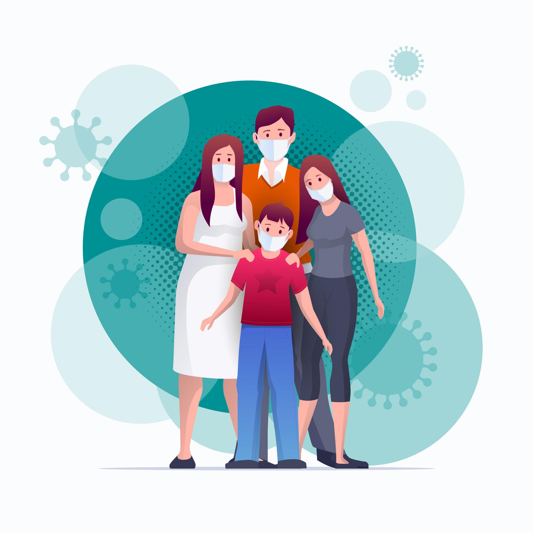 Família se protegendo do coronavírus