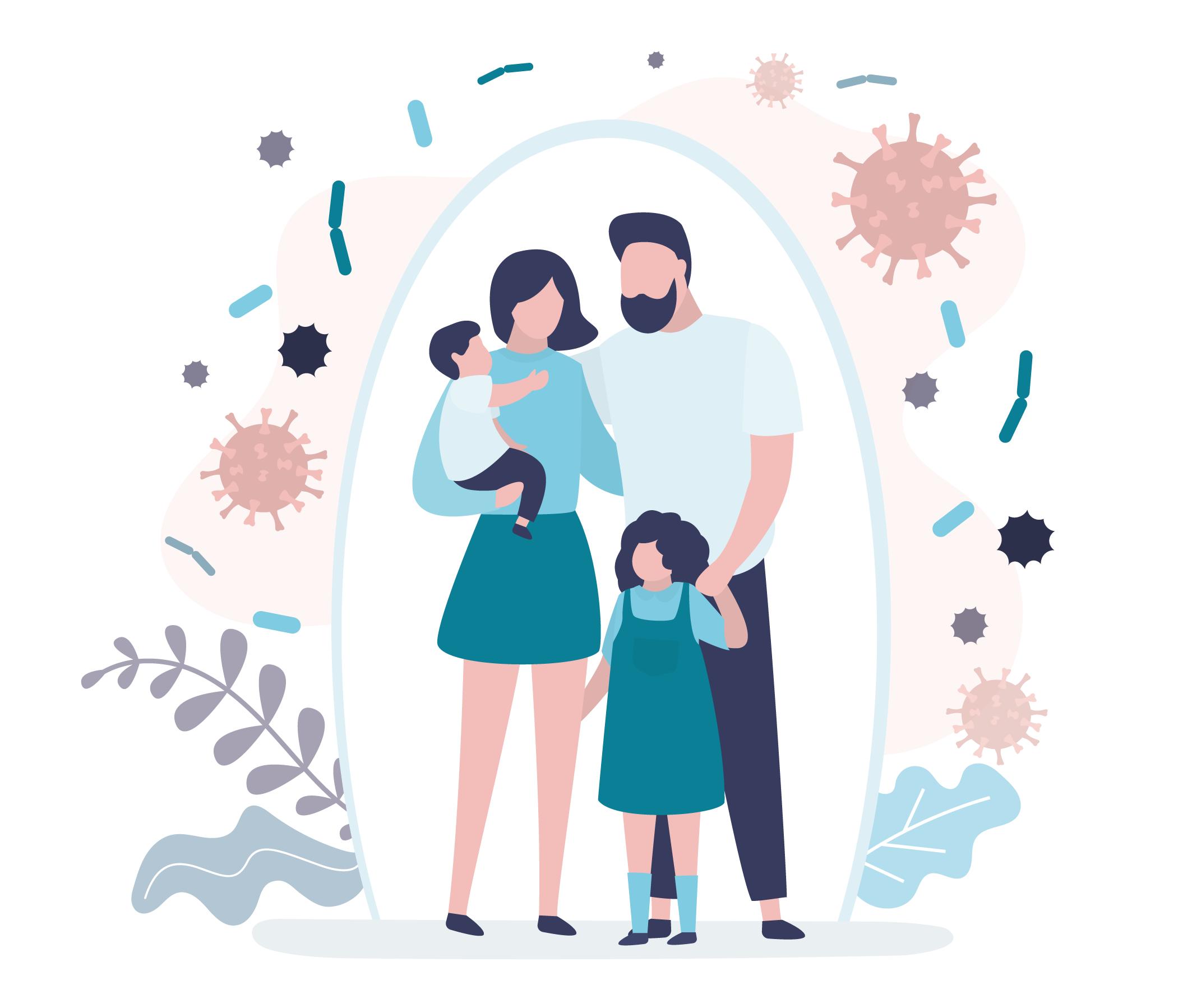 Família se protegendo contra vírus