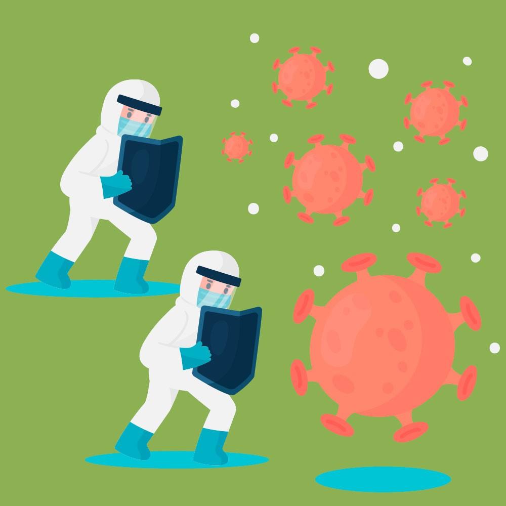 Pessoas com escudos se protegendo de vírus