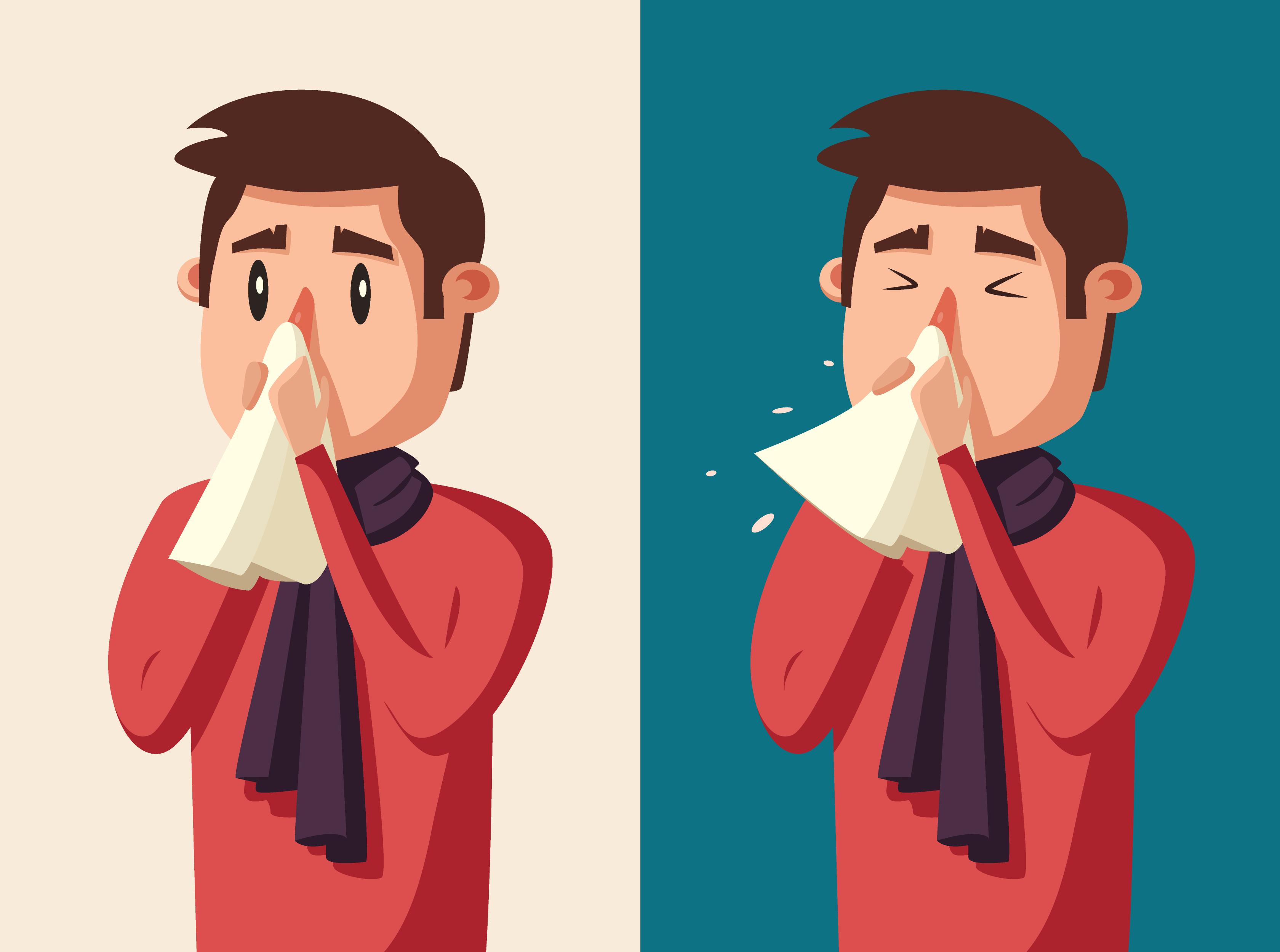 Homem com sintomas da gripe